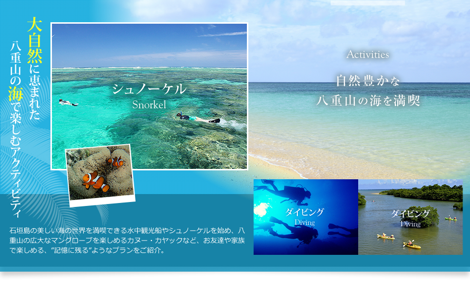 Activities 自然豊かな八重山の海を満喫